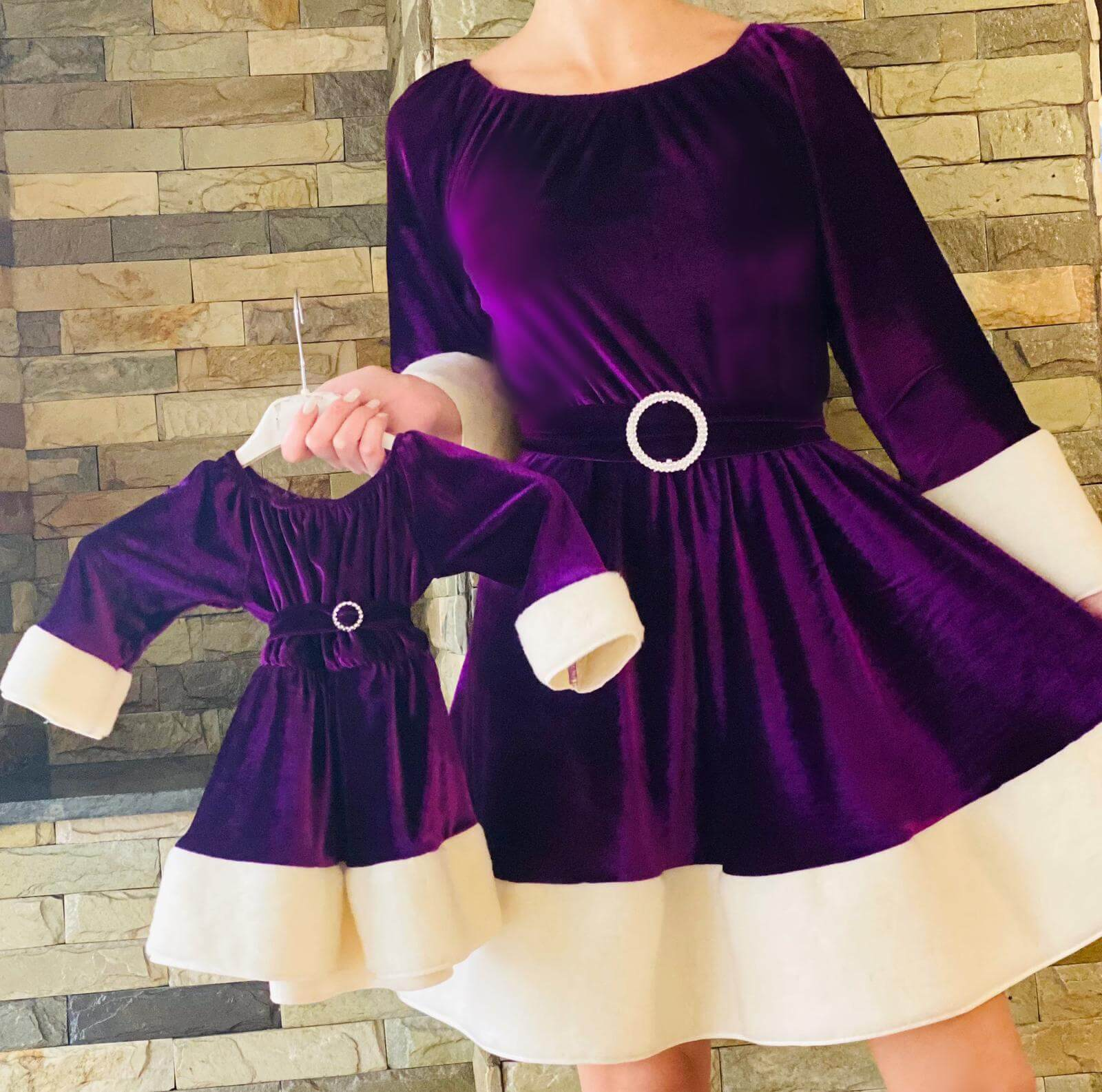 Set Mama si Fiica Rochii de Craciun - Varianta Mov rochie mama si fiica